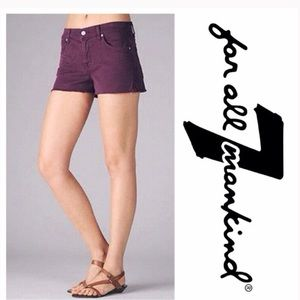 7 For All Mankind Purple Cutoff Denim Shorts
